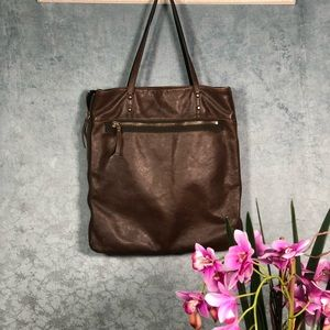 J.Crew Brimfield Brown Leather Tote expandable Bag